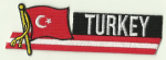 Turkey Embroidered Flag Patch, style 01.